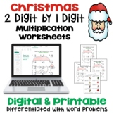 Christmas 2 digit by 1 digit Multiplication Worksheets | Printable and Digital