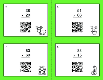 Christmas Math: 2-Digit by 2-Digit Multiplication QR Code Task Cards
