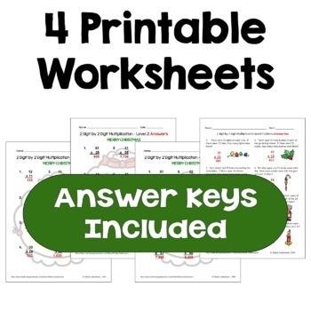 Christmas Multiplication Worksheets (2 digit by 2 digit)