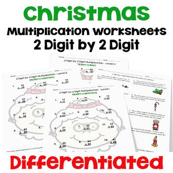 Christmas 2 Digit By 2 Digit Multiplication Worksheets