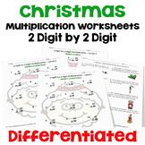Christmas 2 digit by 2 digit Multiplication Worksheets | Printable and Digital