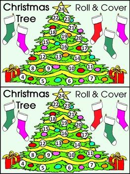 Christmas Math Activities: Christmas Tree Roll & Cover Christmas Math Center