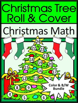 Christmas Math Activities: Christmas Tree Roll & Cover Christmas Activity Bundle