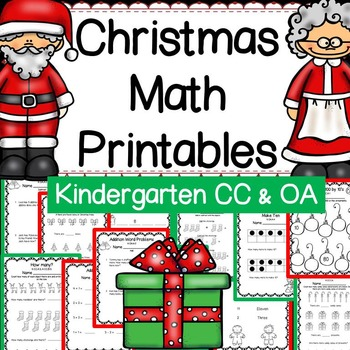 Christmas Math for Kindergarten: CCSS Aligned Worksheets & Task Cards