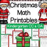 Christmas Math for Kindergarten: CCSS Aligned Worksheets &