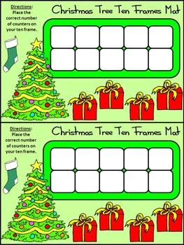 Christmas Math Activities: Christmas Tree Christmas Ten Frames Activity Bundle