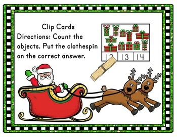 December Activities - Christmas Math Counting Clip Cards