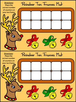 Christmas Activities: Reindeer Christmas Ten Frames Math Activity Packet