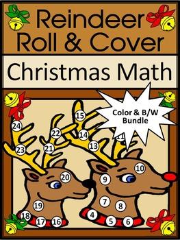 Christmas Activities: Reindeer Roll & Cover Christmas Math Center Activity