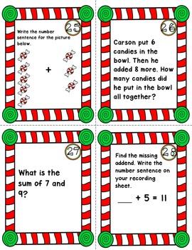 CHRISTMAS MATH Addition Task Cards