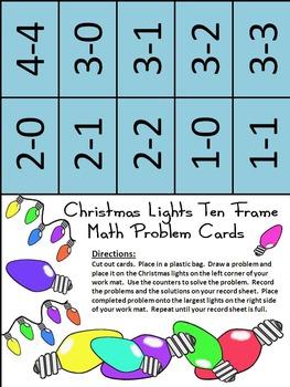 Christmas Math Activities: Christmas Lights Christmas Ten Frames Activity Bundle