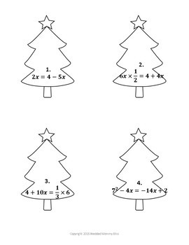 Christmas Math Algebra Puzzle for the middle and high school classroom