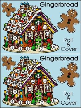 Christmas Math Activities: Gingerbread House Roll & Cover Christmas Math Center