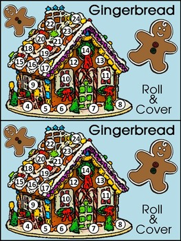 Christmas Math Activities Gingerbread House Roll Cover Bundle Color Bw