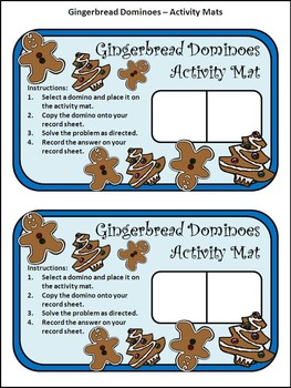 Christmas Math Activities: Gingerbread Men Christmas Dominoes Math Game Activity