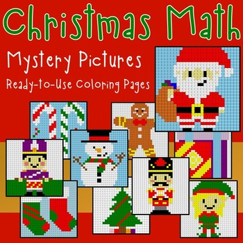 Differentiated Christmas Math Coloring Worksheets Addition Multiplication etc