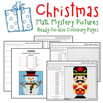 December Coloring Pages, Christmas Math Sheets Mystery Picture Activity