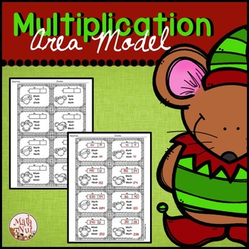 Christmas Multiplication | Area Model 2 digit by 1 digit