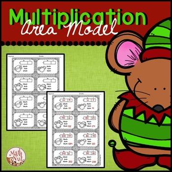 Christmas Multiplication   Area Model 2 digit by 1 digit