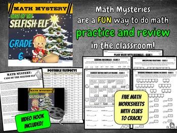 Christmas Math Activity: Math Mystery LCM, Decimals, Ratios, Fractions, Division
