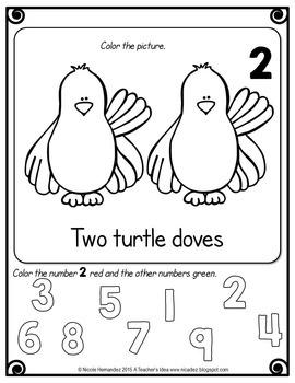 Christmas Math Worksheets - Kindergarten Activities {Numbers 1 to 12}