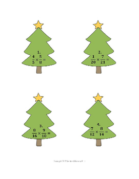 Christmas Math - Multiplying and Dividing Fractions Puzzle