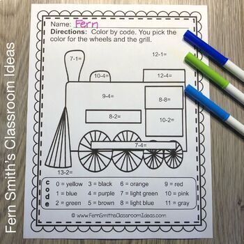 Polar Express Color By Numbers Christmas Addition and Subtraction