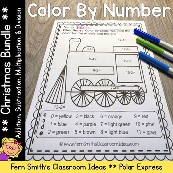 Color By Numbers Christmas Math Addition Subtraction Multi
