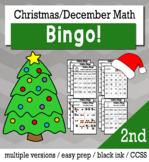 Christmas Math 2nd Grade BINGO Game Bundle