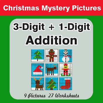Christmas Math: 3-Digit + 1-Digit Addition - Color-By-Number Math Mystery Pictures