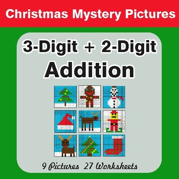Christmas Math: 3-Digit + 2-Digit Addition - Color-By-Number Math Mystery Pictures