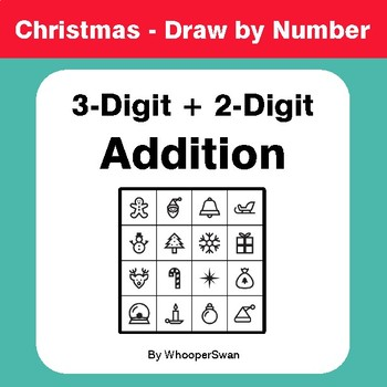 Christmas Math: 3-Digit + 2-Digit Addition - Math & Art - Draw by Number