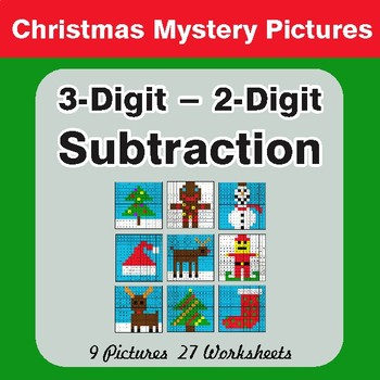 Christmas Math: 3-Digit - 2-Digit Subtraction - Color-By-Number Math Mystery Pictures