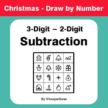 Christmas Math: 3-Digit - 2-Digit Subtraction - Math & Art - Draw by Number