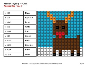 Christmas Math: 3-Digit Addition - Color-By-Number Mystery Pictures