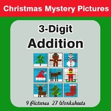 Christmas: 3-Digit Addition - Color-By-Number Math Mystery Pictures
