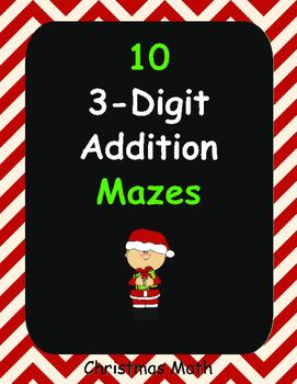 Christmas Math: 3-Digit Addition Maze