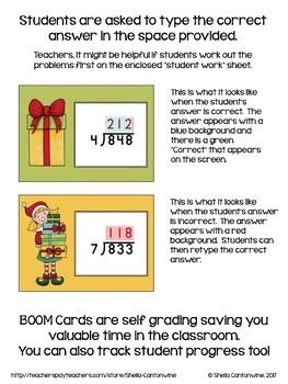 Christmas Math - 3 Digit Long Division Digital Task Cards - BOOM Cards