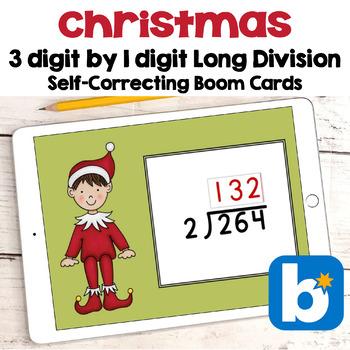 Christmas Math - 3 Digit Long Division Digital Task Cards - BOOM Cards