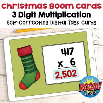 Christmas Math - 3 Digit Multiplication Digital Task Cards - BOOM Cards