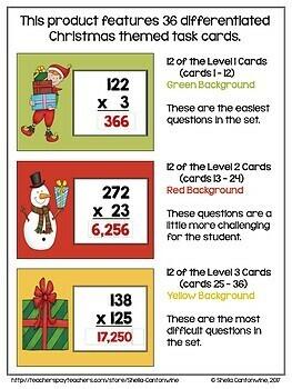 Christmas BOOM Cards - 3 Digit Multiplication Digital Task Cards