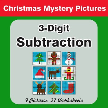 Christmas Math: 3-Digit Subtraction - Color-By-Number Mystery Pictures