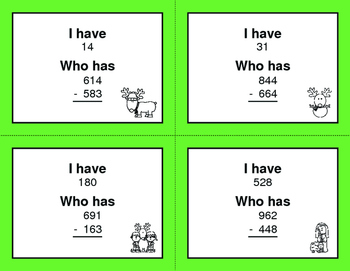 Christmas Math: 3-Digit Subtraction - I Have, Who Has