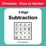 Christmas Math: 3-Digit Subtraction - Math & Art - Draw by Number