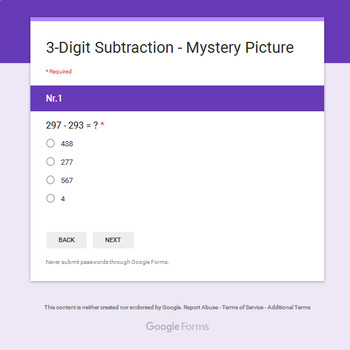 Christmas Math: 3-Digit Subtraction - Mystery Picture - Google Forms