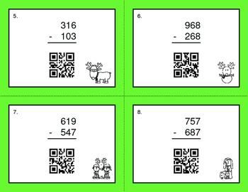 Christmas Math: 3-Digit Subtraction QR Code Task Cards