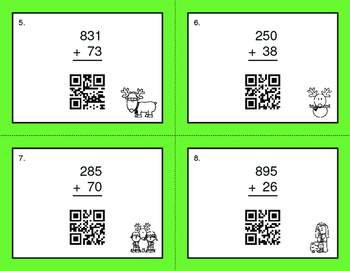Christmas Math: 3-Digit and 2-Digit Addition QR Code Task Cards