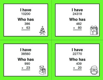 Christmas Math: 3-Digit and 2-Digit Multiplication - I Have, Who Has