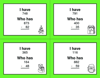 Christmas Math: 3-Digit and 2-Digit Subtraction - I Have, Who Has