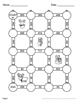 Christmas Math: 3-Digit and 2-Digit Subtraction Maze